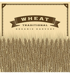 Retro wheat harvest card brown vector