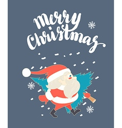 Cute santa claus carrying christmas tree in snow vector