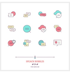 Speech bubbles line icons set vector
