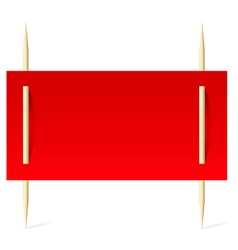 Red paper on toothpicks vector image