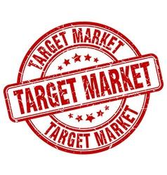 Target market red grunge round vintage rubber vector