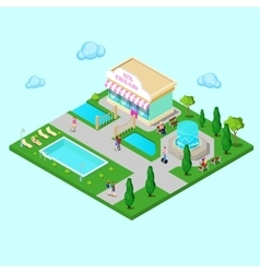 Isometric city park with fountain vector