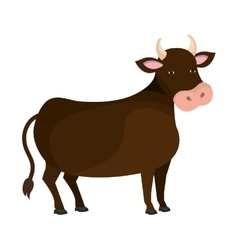 Bull animal farm cartoon icon vector