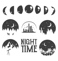 Night time concept labels and emblems in vector