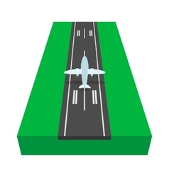 Airstrip with airplane cartoon icon vector image