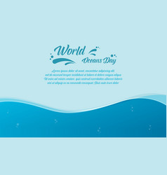 Banner of world ocean day design simple vector