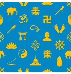 Buddhism religions symbols icons seamless pattern vector