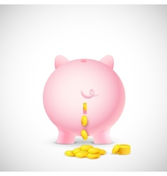 Coin falling from piggy bank vector