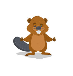 cute cartoon beaver waving with his hands vector image vector image