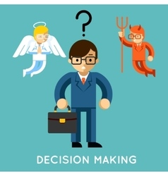 Decision making businessman with angel and demon vector