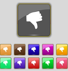 Dislike thumb down icon sign set with eleven vector