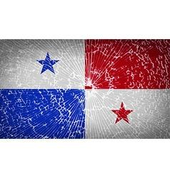 Flags panama with broken glass texture vector