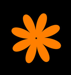 flower sign orange icon on black vector image vector image