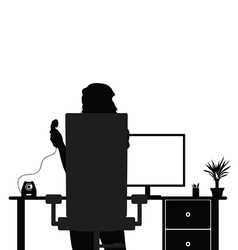 girl in office with telephone silhouette vector image vector image