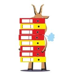 Goat holding huge pile of folders 06 vector image