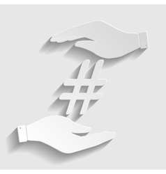 Hashtag sign paper style icon vector