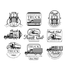 Heavy truck club black and white emblems vector