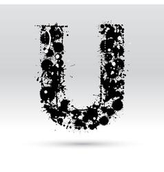 Letter U formed by inkblots vector image vector image