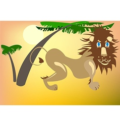 Lion under the palm trees vector image vector image
