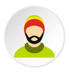 Man wearing rastafarian hat icon circle vector