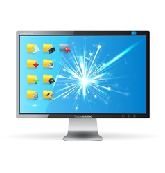 Monitor with folders vector