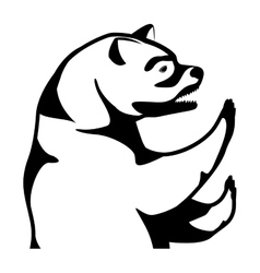 Monochrome silhouette with half body bear vector