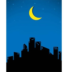 Moon and stars for the city vector
