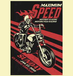 motorbike racing event poster in vintage style vector image