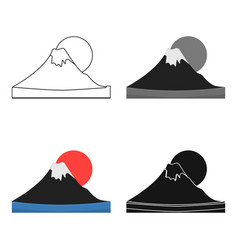 Mount fuji icon in cartoon style isolated on white vector