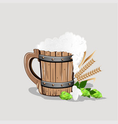 old wooden mug of beer vector image vector image