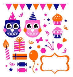 Owl birthday party design elements vector image vector image