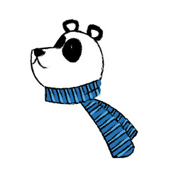 Panda bear christmas cartoon with scarf vector
