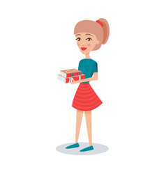 Pretty student girl standing and holding books in vector