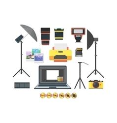 Professional photographer equipment set vector