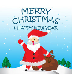 Santa happy say hello bag and merry christmas vector