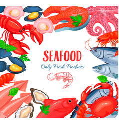 Seafood product poster vector