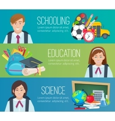 Set horizontal banners with school supplies and vector image vector image