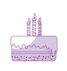 Silhouette delicious pastel with candles to happy vector