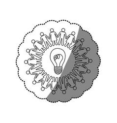 Sticker silhouette teamwork human people circle vector