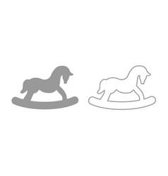 Toy horse icon grey set vector