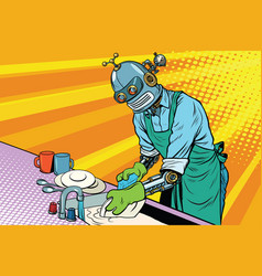vintage worker robot washes dishes vector image