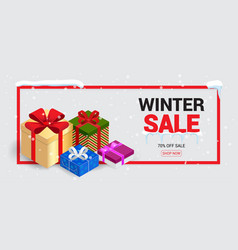 winter sale card or banner discount offer price vector image vector image
