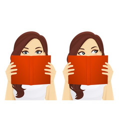 woman with book vector image vector image