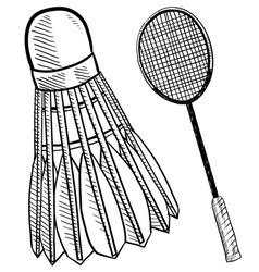 Doodle badminton racket shuttlecock vector