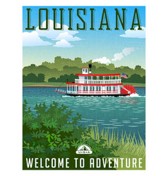 Louisiana travel poster or sticker vector
