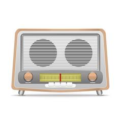 cartoon wooden retro radio vector image