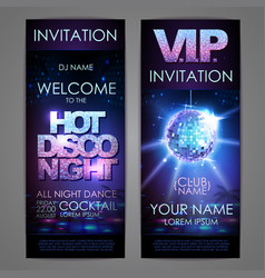 Set of disco background banners hot disco night vector