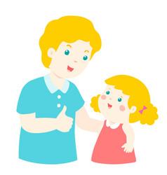 Dad admire daughter character cartoon vector