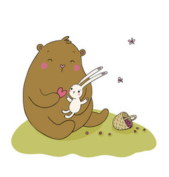 Lovely cartoon bear and hare basket with berries vector