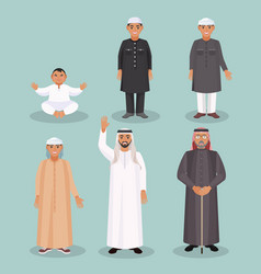 Arabic men generations from kid to old person vector